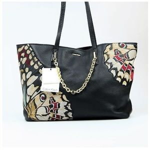 Calvin Klein Hera Black Leather Butterfly TOTE